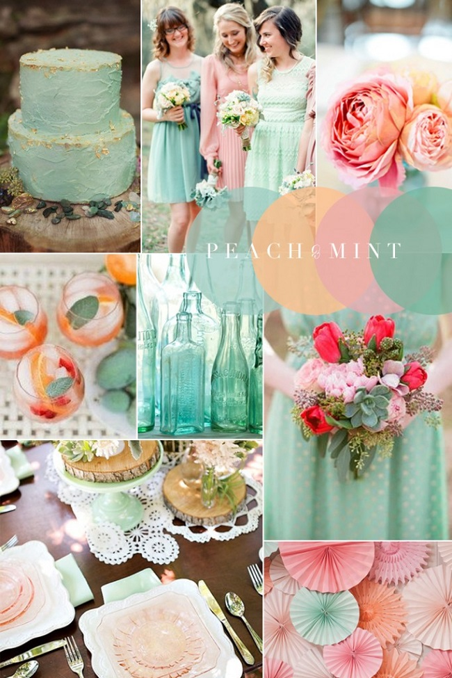 Mint And Coral Wedding Table Decorations