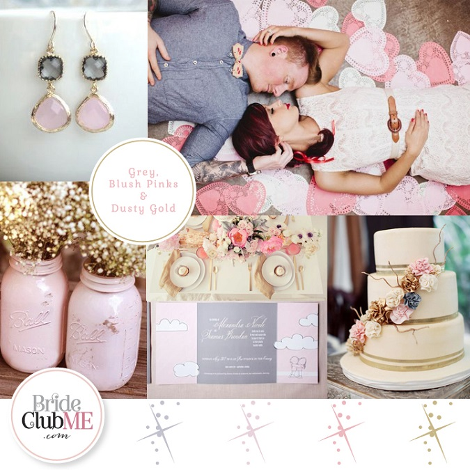 Wedding Colour Scheme – Bride Club ME's Pick of The Week {Grey, Blush Pinks & Dusty Gold}