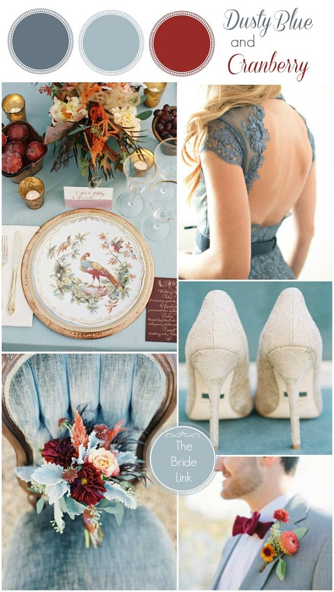 Wedding Colour Scheme Dusty Blue Amp Cranberry
