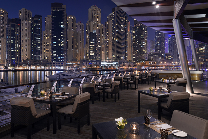 Address Dubai Marina Aquara Terrace Evening