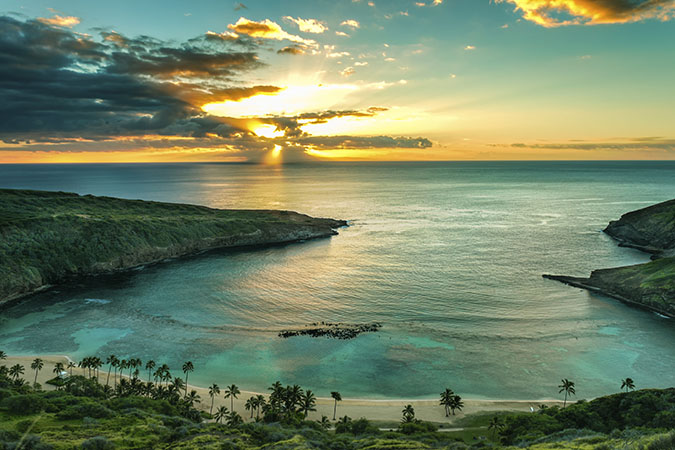 Sunrise over Hanauma Bay on Oahu, Hawaii