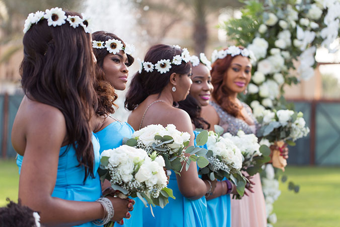 Nigerian destination wedding Dubai bridesmaids