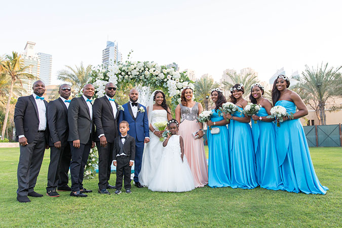 Nigerian destination wedding Dubai wedding party