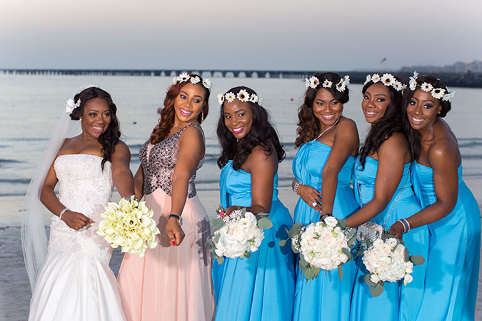 Nigerian destination wedding Dubai bride and bridesmaids