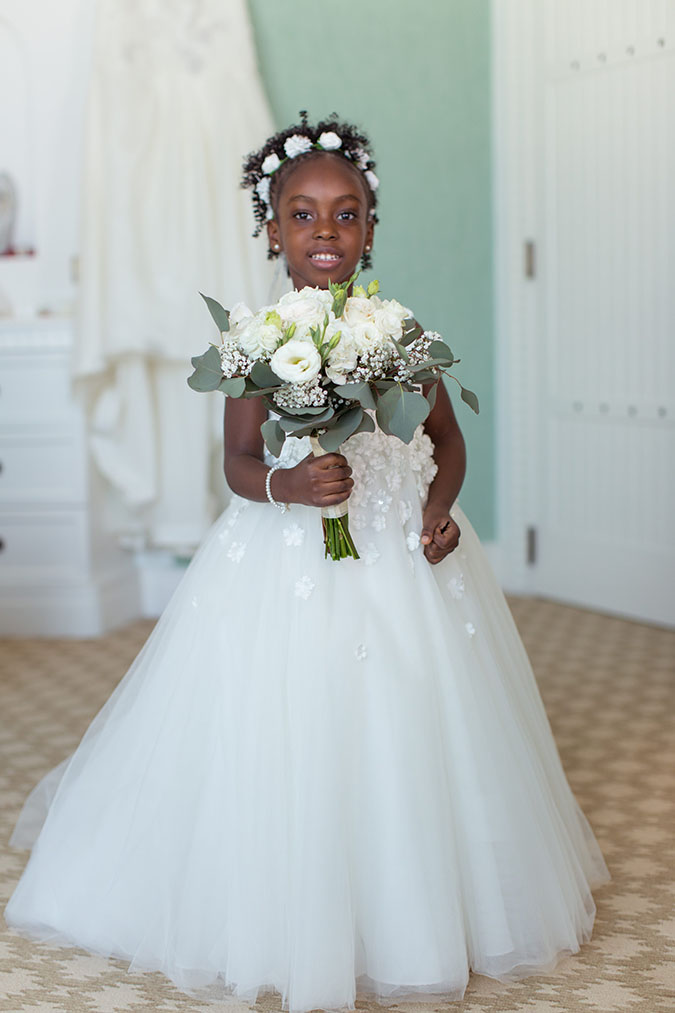 Nigerian destination wedding Dubai flower girl