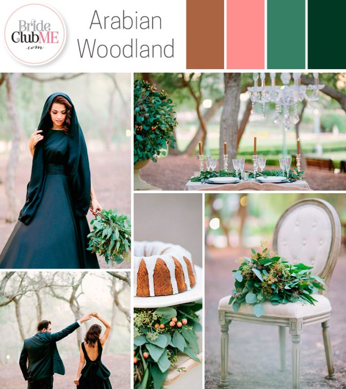 arabian woodland wedding colour scheme