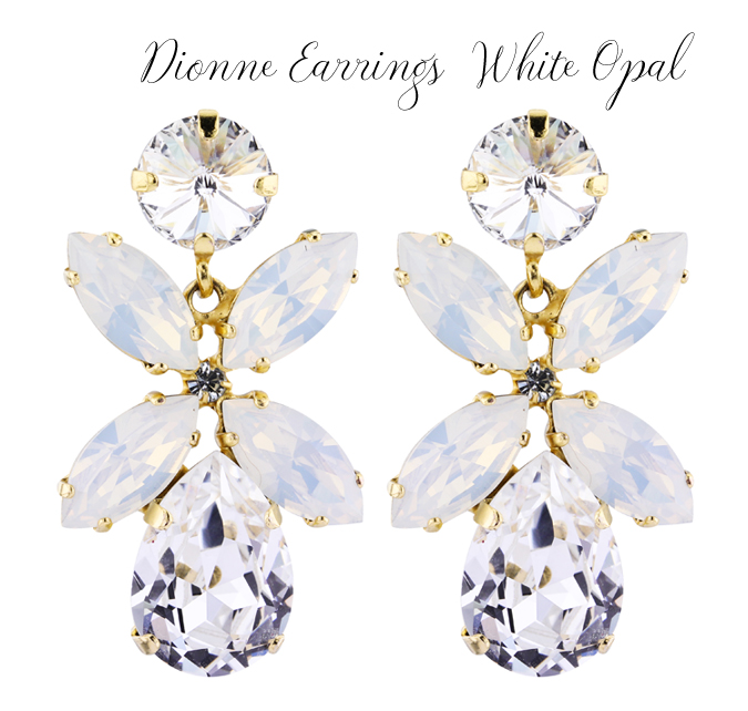 Dione Earrings Crystal White Opal