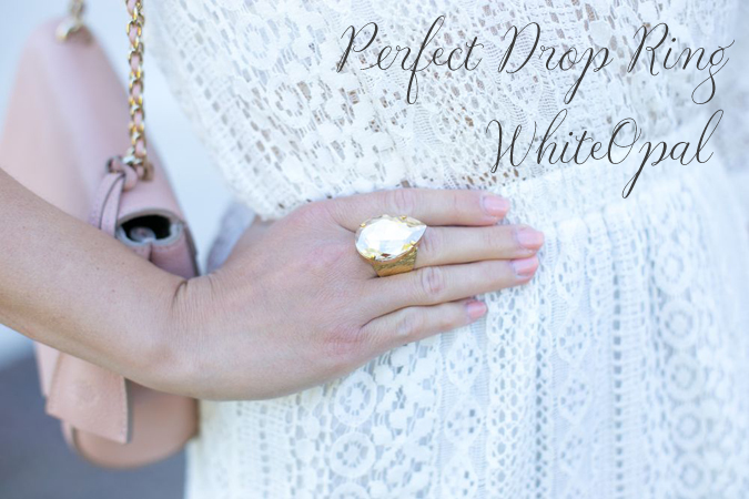 Perfect Drop Ring White Opal