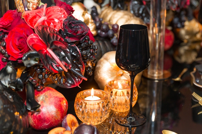 BCME - Setup - Gold Pumpkins, Black Glass, Candles - Wedding Industry Networking
