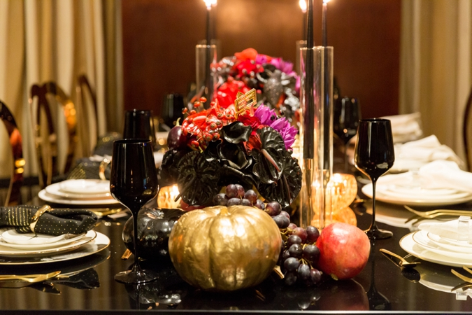 BCME - Table Setup - Gold Pumpkin, Black Glasses, Flowers - Wedding Industry Networking