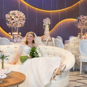 Woman Getting Married sat on a sofa in the ballroom at the W Hotel Dubai Palm Jumeirah