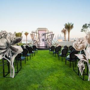 Initimate Outside Lawn Wedding Setup at the W Hotel Dubai Palm Jumeirah