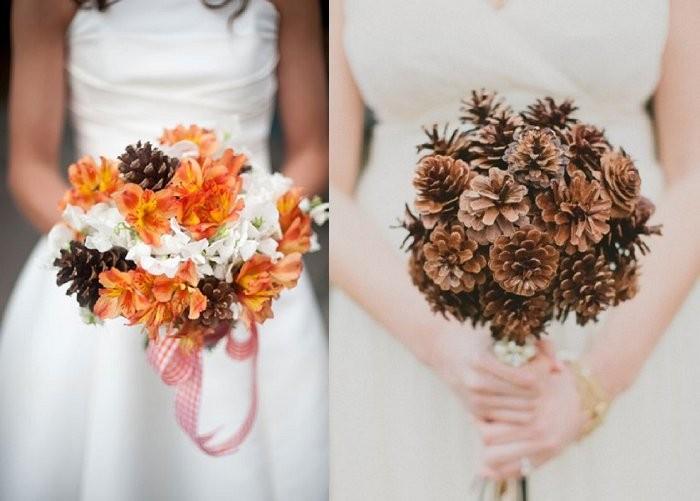 Brideclubme.com Pine cone wedding bouquet inspiration