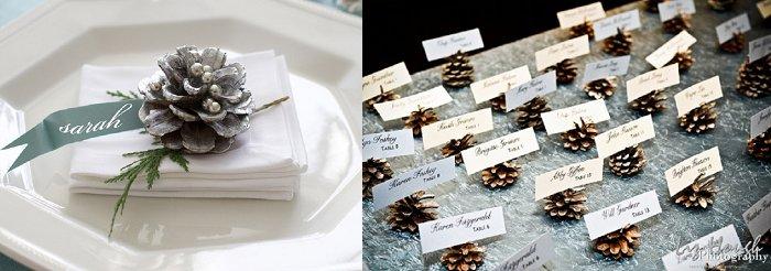 Brideclubme.com pine cone wedding table settings