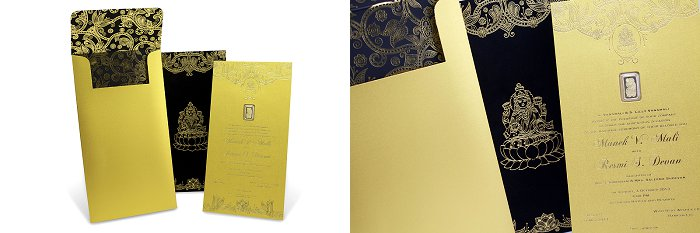 Real gold wedding invite