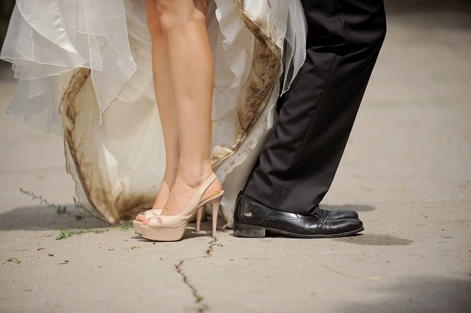 Dirty Shoes of Bride and Groom