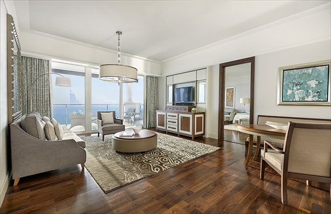 Waldorf Astoria Dubai May 2014 Deluxe Suite Skyline View Living Room