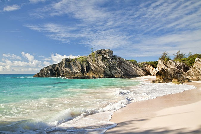 Beautiful pink sand on a secluded beach on the south shore of Bermuda.