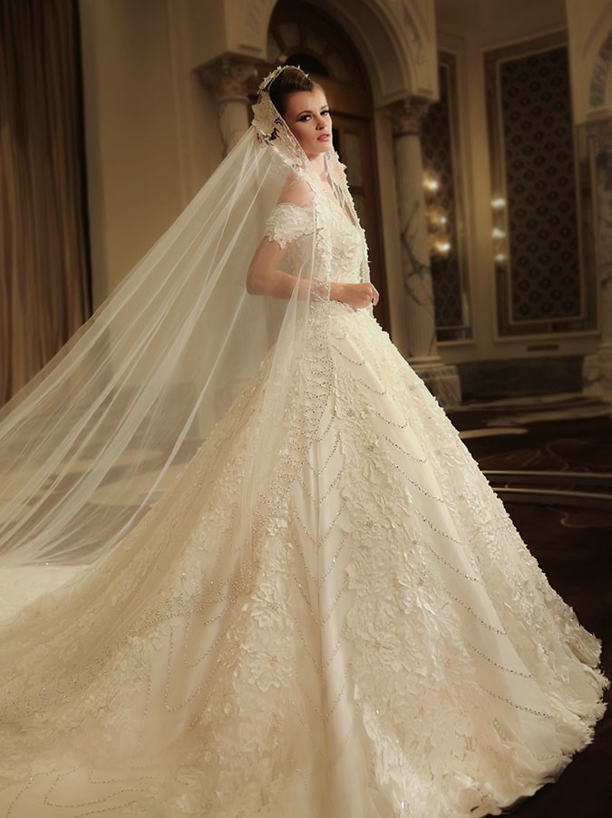 Walid Atallah wedding gown at the Ajman hotel wedding fair UAE