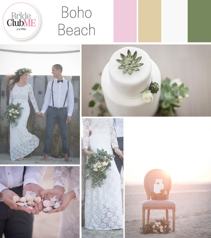 bohemian beach wedding colour scheme