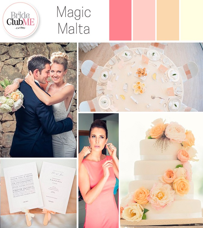 peaches and cream wedding colour scheme