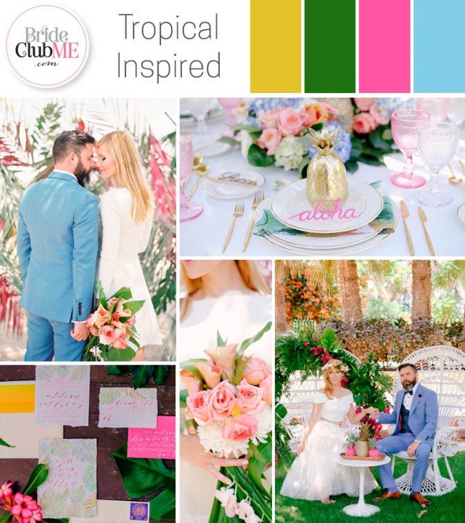 tropical-inspired wedding colour scheme