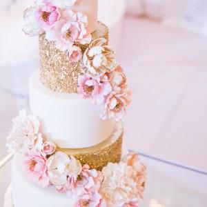 Cake Loft Cake Pink and Gold Sparkly Wedding Cake