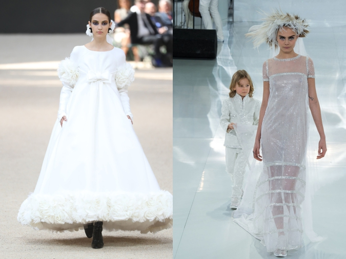 Camille Hurel wearing a wedding dress at the Chanel couture Fall-Winter 2017-2018 show © Antonio de Moraes Barros Filho