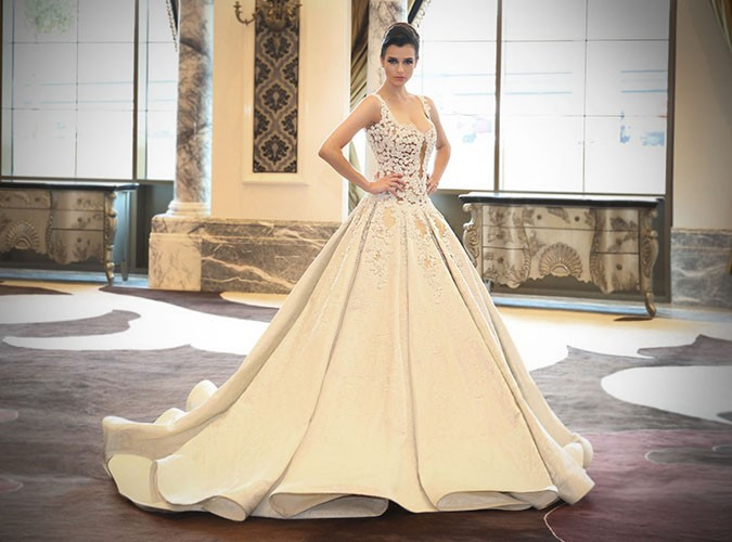 fashion designer walid atallah at the Ajman hotel wedding fair 2017