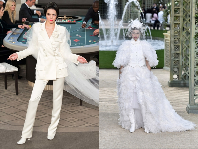 Kendall Jenner wearing a wedding suit at the Chanel Couture Fall-Winter 2014-2015 show
