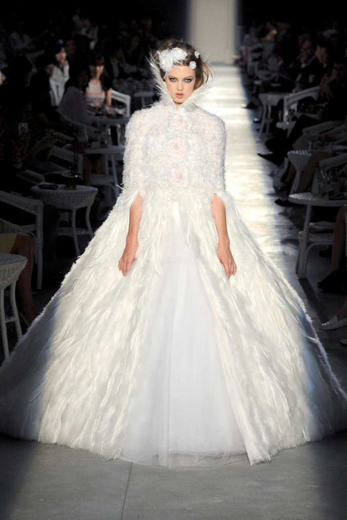 Lindsey Wixson wearing a wedding dress at the Chanel Couture Fall-Winter 2011-2012 show