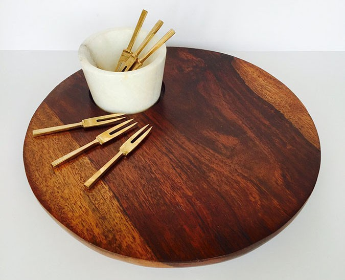 WOODEN PLATTER W. MARBLE BOWL