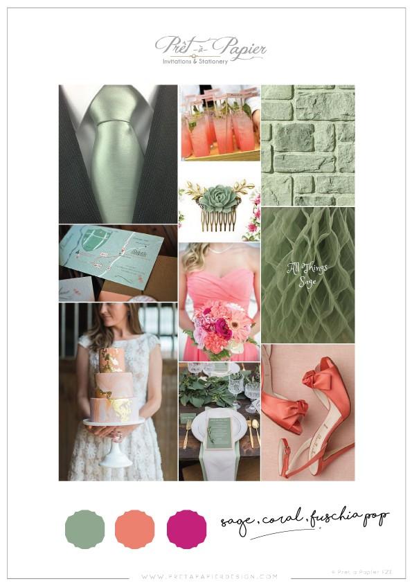 Sage, Coral & Fuschia Wedding Colour Scheme