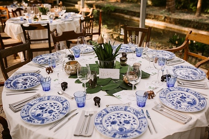 Blue and white wedding table setting.
