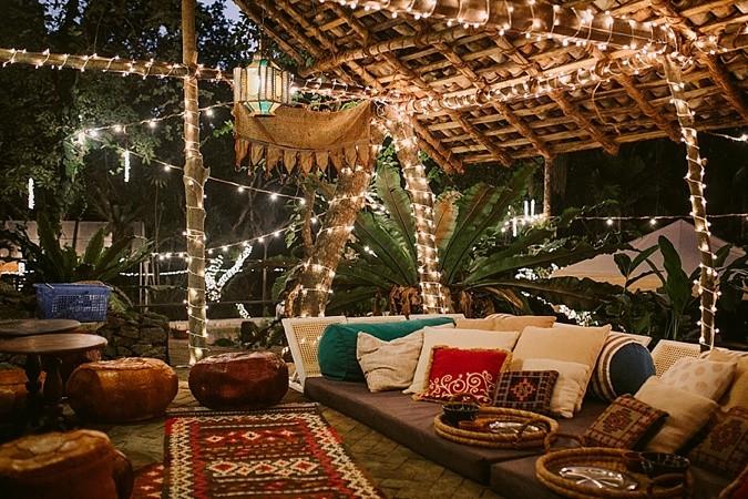 Arabic shisha tent at wedding.