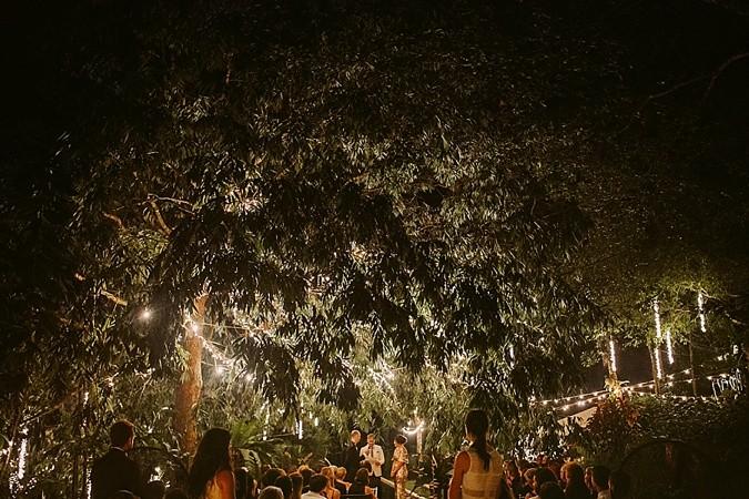 Fairy lights Sri Lanka night wedding.