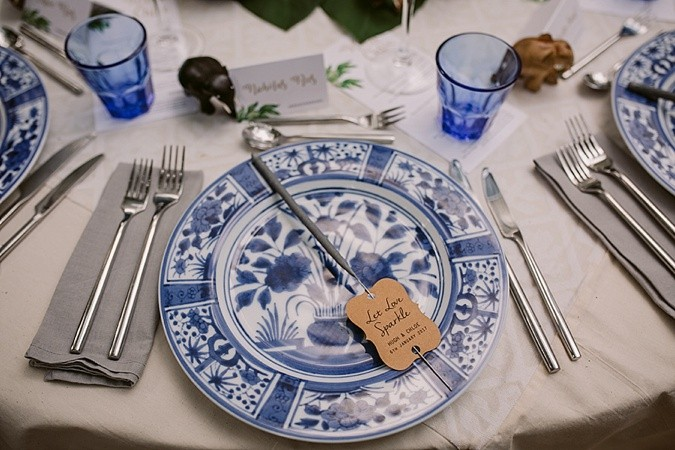 Blue and white wedding table decor.
