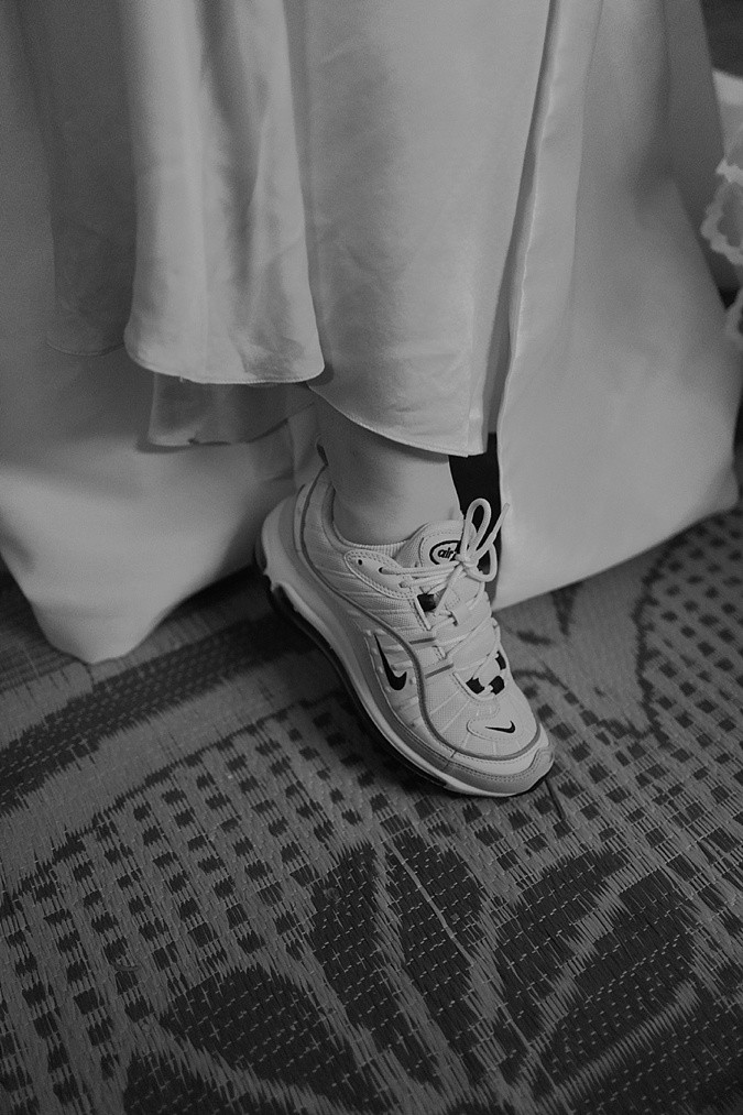 Bride's trainers.