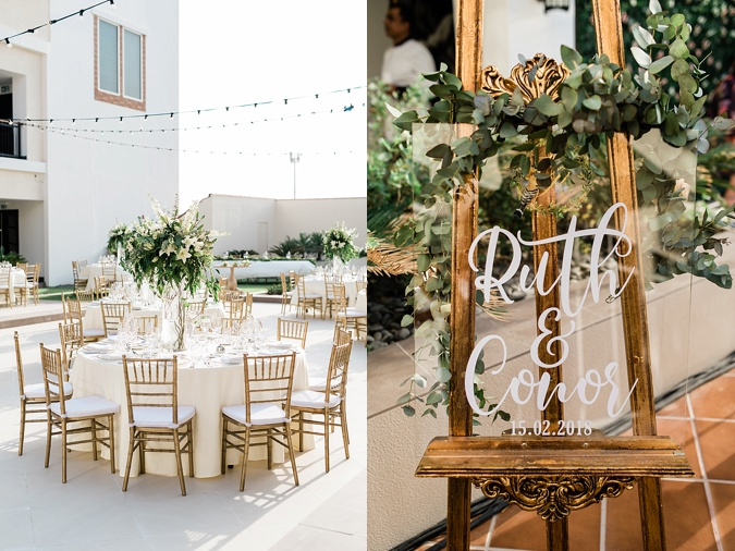 White and gold wedding decor.