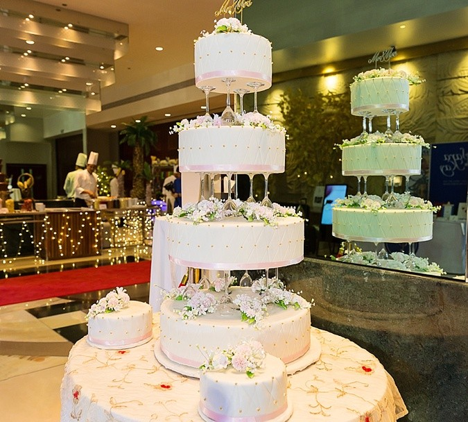 4 tier wedding cake.