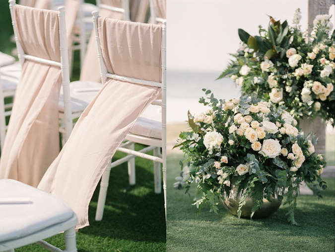 White and blush outdoor wedding blessing.