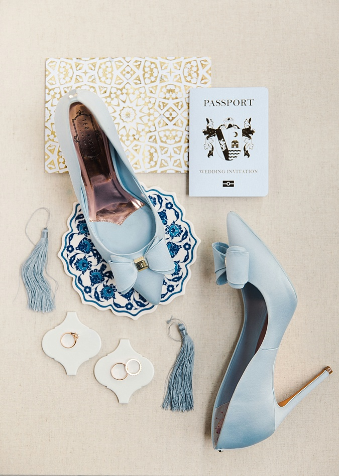 Blue wedding details flat lay.