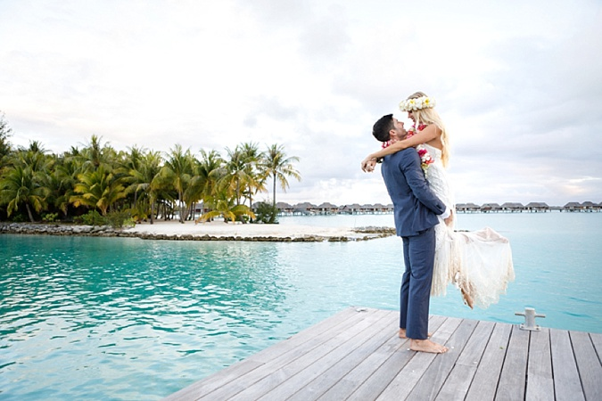 Couple on romantic bora bora honeymoon.