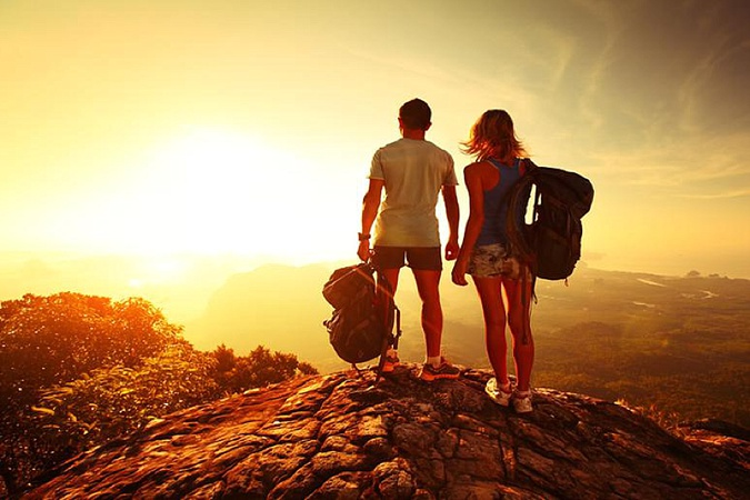 Couple on adventure honeymoon.