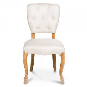 White and wood chair from Specstyles furniture rentals in Dubai