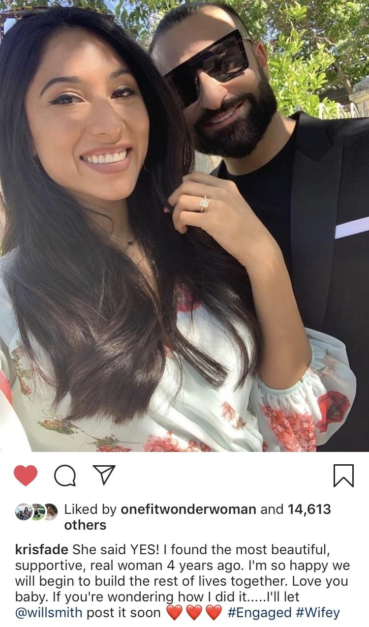 Kris Fade engagement announcement post