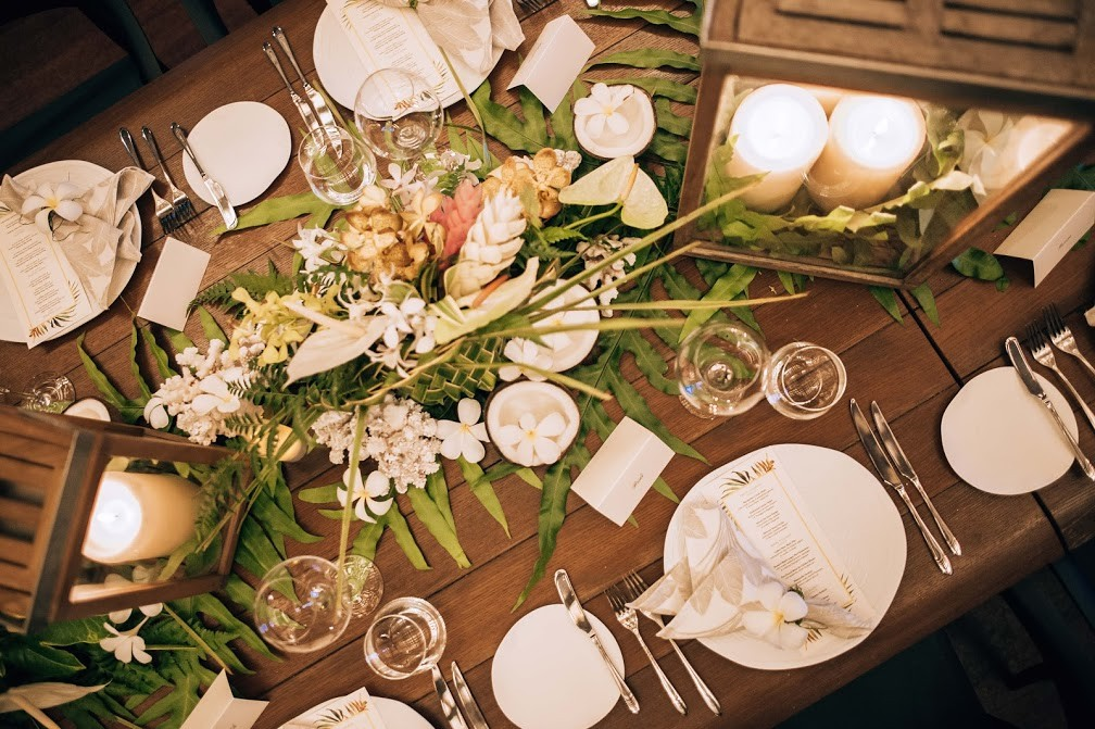 Rustic wedding table set up