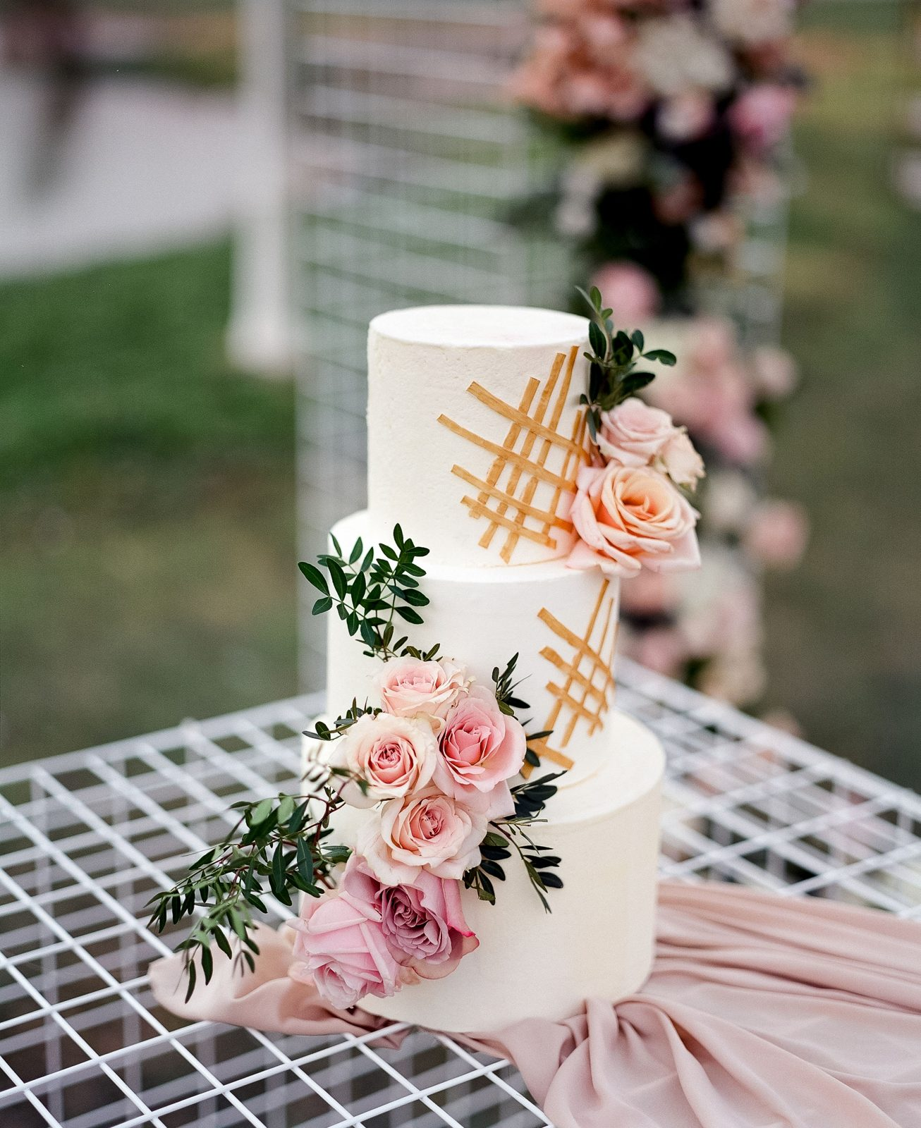 Blush and green wedding 3 tier wedding cake