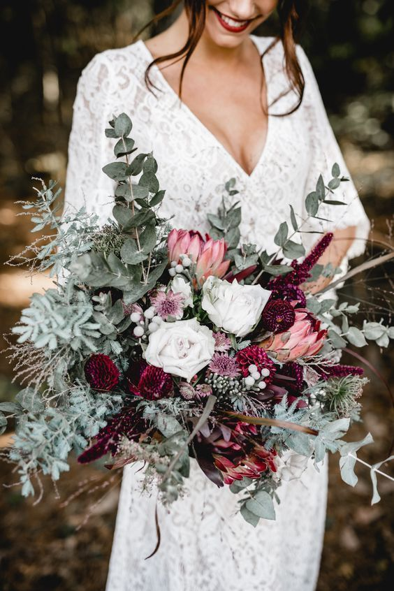 Autumnal wedding bouquet with greenery