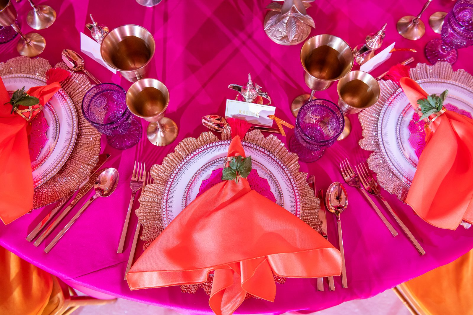 Event Chic Designs colourful Indian wedding place setting